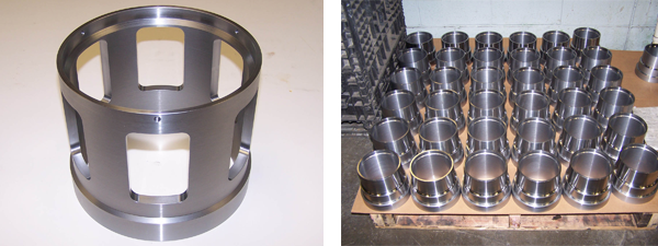 "10"" diameter Cage Valve made from alloy steel tubing, turned and milled."